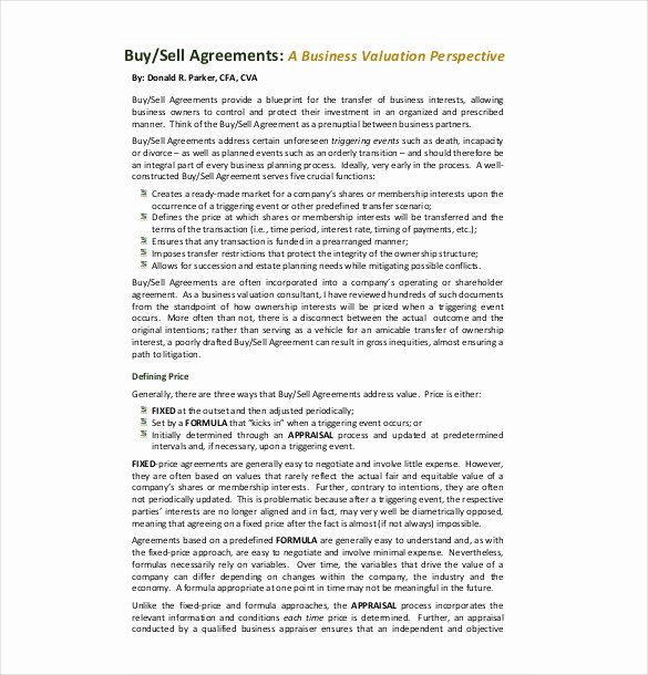 Buy Sell Agreement Template Unique 25 Buy Sell Agreement Templates Word Pdf