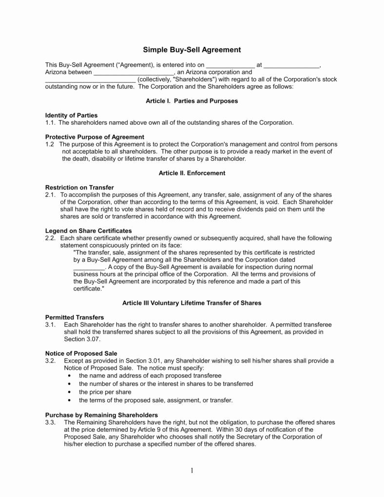 Buyout Agreement Template Free Best Of Understanding the 3 Fundamentals Of A Buy Sell Agreement