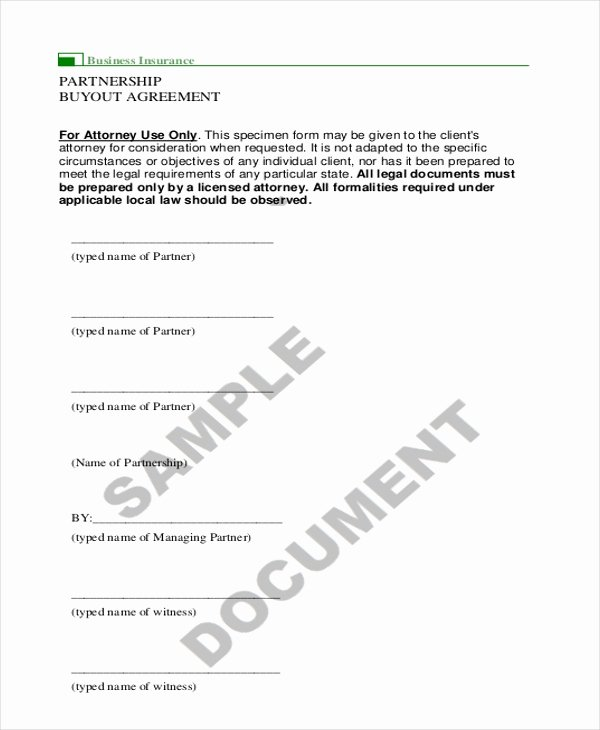 Buyout Agreement Template Free Inspirational 9 Sample Partnership Agreement forms Free Sample