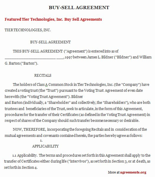 Buyout Agreement Template Free Lovely Get Sample Buy Sell Agreements