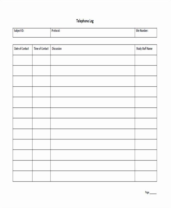 Call Log Template Excel Best Of Call Log Sheet