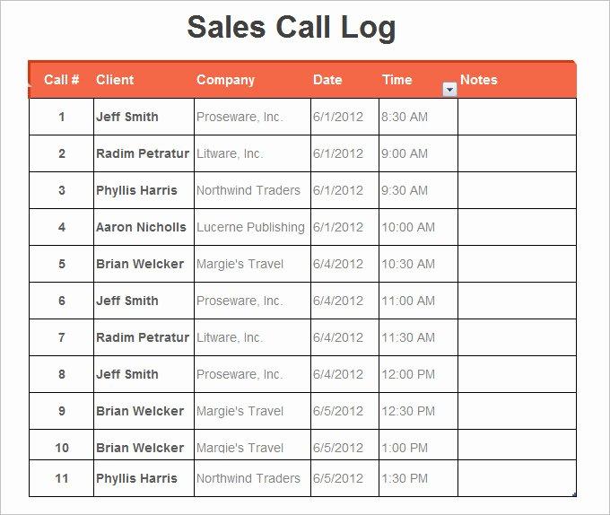 Call Log Template Excel Elegant 10 Phone Log Templates Word Excel Pdf formats