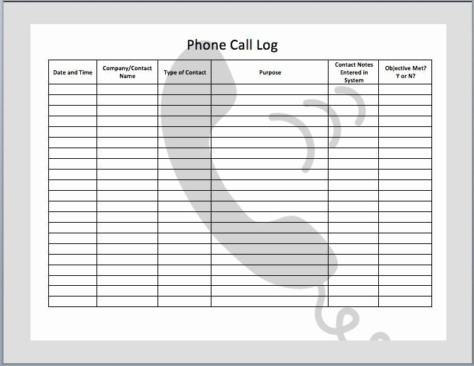 Call Log Template Excel Lovely Phone Call Log Phone Call Log