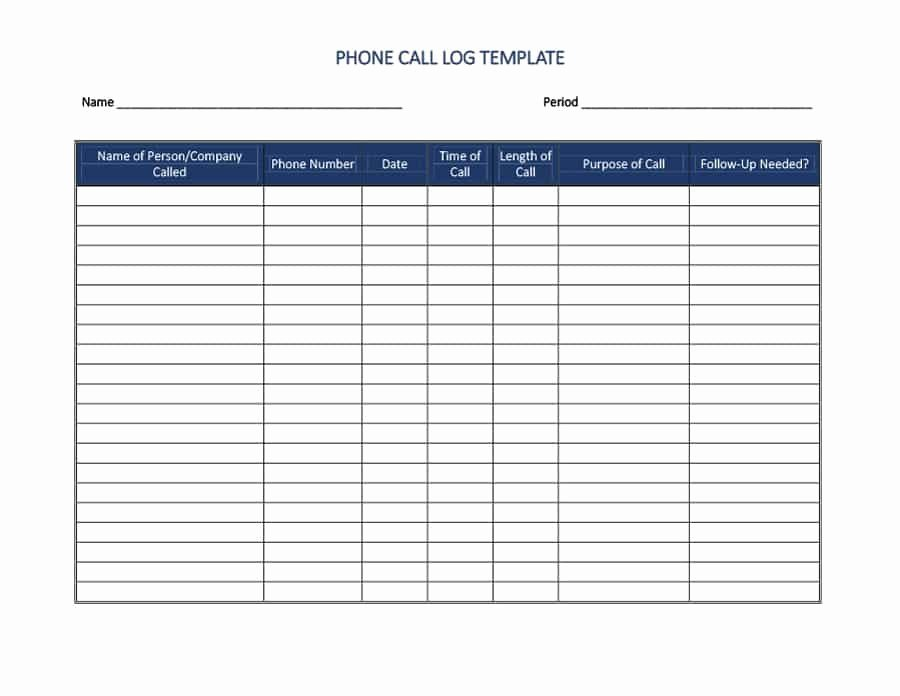 Call Log Template Excel Luxury Free Microsoft Templates Telephone Log Programs