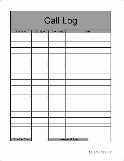 Call Log Template Excel New Call Log Template Excel