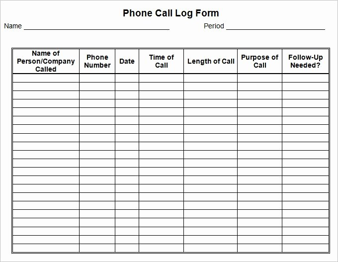 Call Log Template Excel New Call Log Template