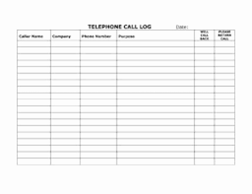 Call Log Template Excel New top 5 Resources to Get Free Call Log Templates Word