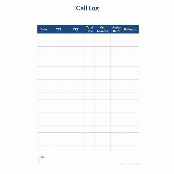 Call Log Template Excel Unique 15 Call Log Templates Doc Pdf Excel