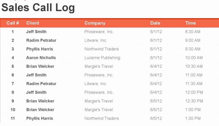 Call Log Template Excel Unique 4 Sales Call Log Excel Templates Excel Xlts