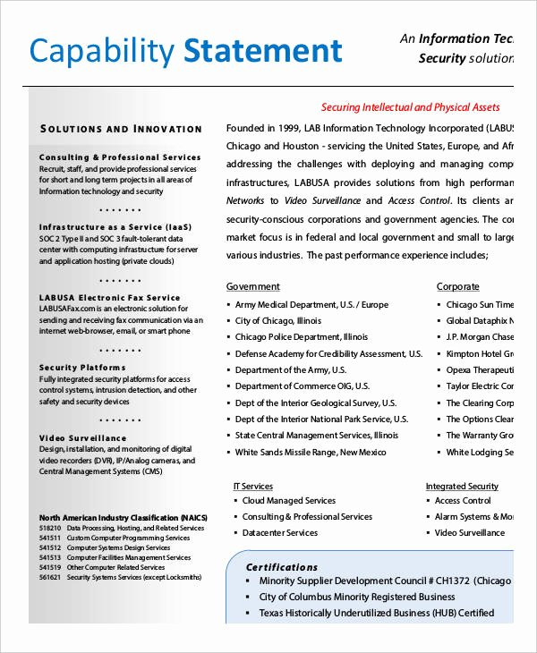 Capability Statement Template Doc Beautiful 12 Capability Statement Template Word Pdf Google Docs