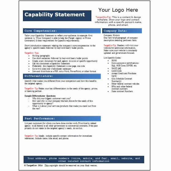 Capability Statement Template Doc Beautiful Capability Statement Editable Template Blue Tar Gov