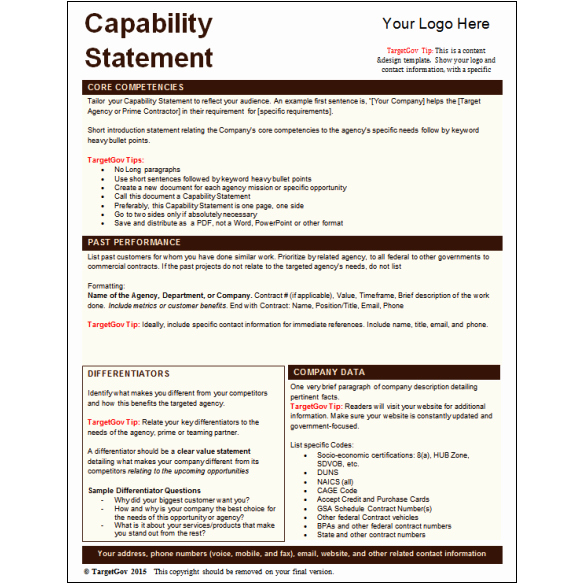 Capability Statement Template Doc Beautiful Capability Statement Editable Template Tar Gov