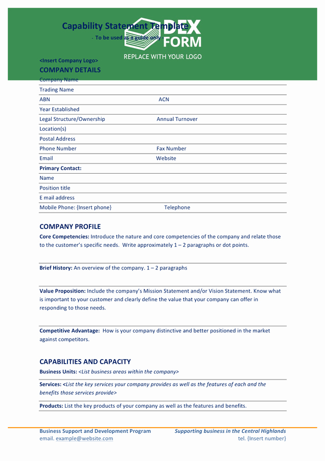 Capability Statement Template Doc Beautiful Capability Statement Template In Word and Pdf formats