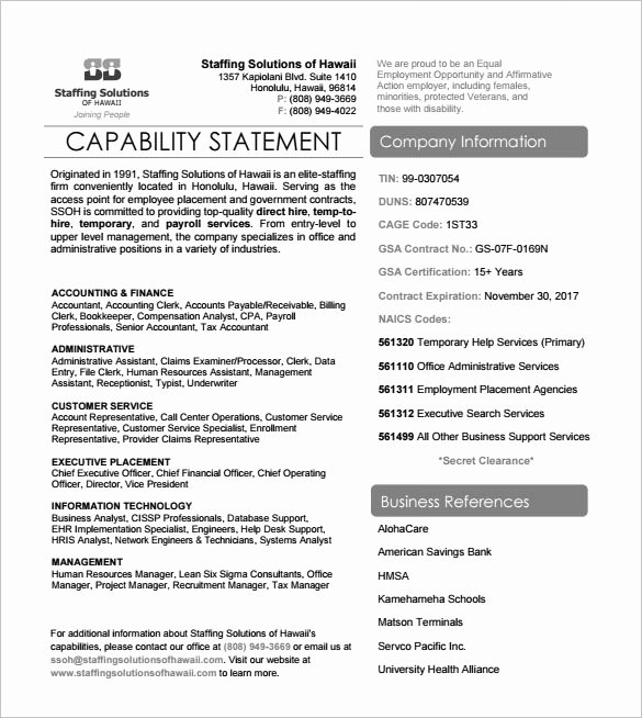 Capability Statement Template Doc Best Of 14 Capability Statement Templates Pdf Word Pages