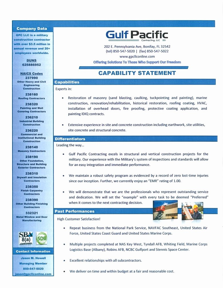 Capability Statement Template Doc Best Of Capability Statement