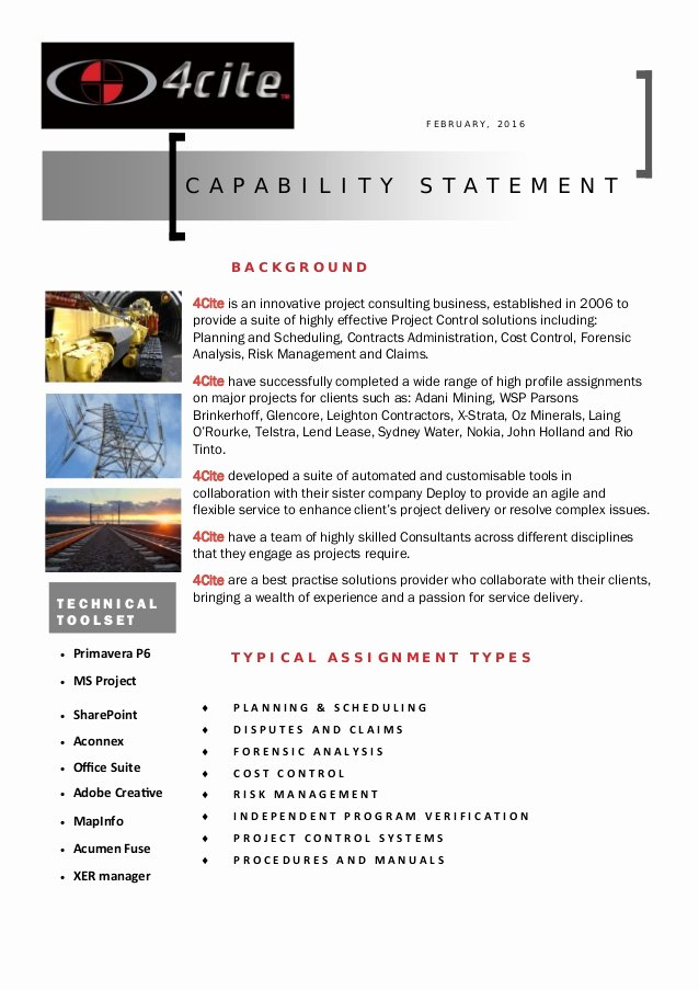 Capability Statement Template Doc Fresh 4cite Capability Statement Pdf