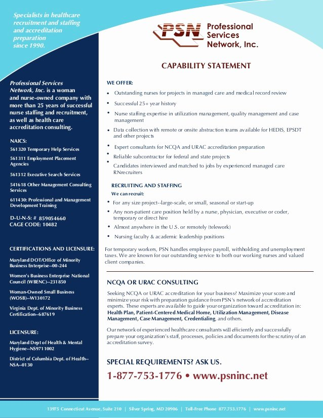 Capability Statement Template Doc Inspirational Capability Statement