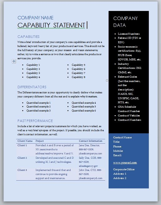 Capability Statement Template Doc Inspirational Free Capability Statement Template – Blue and Black