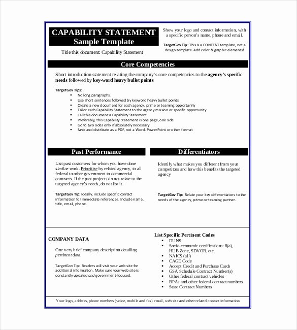 Capability Statement Template Doc Luxury Statement Templates – 30 Free Word Excel Pdf Indesign