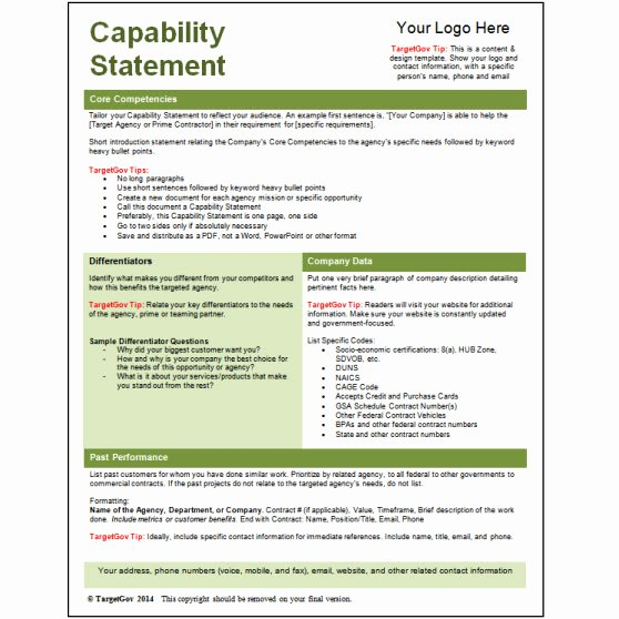 Capability Statement Template Doc New Capability Statement Editable Template Green Tar Gov