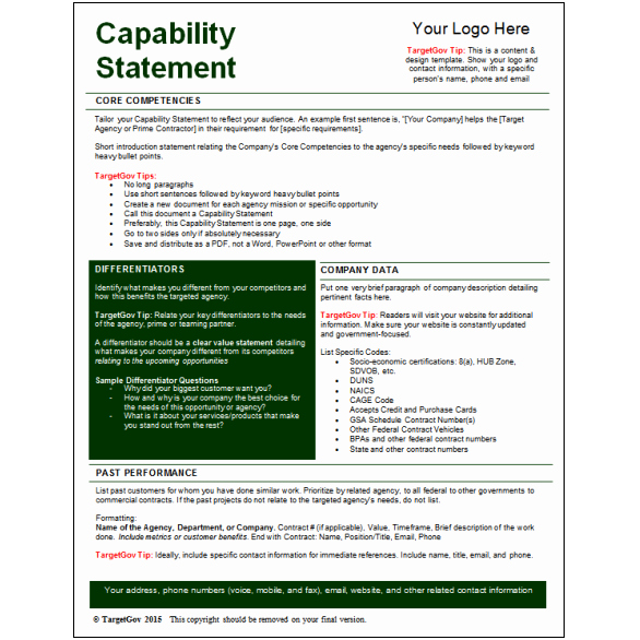 Capability Statement Template Doc New Capability Statement Editable Template Tar Gov