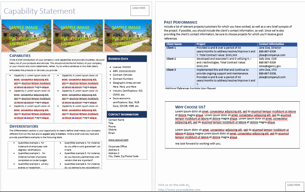 Capability Statement Template Doc New Get Started Quickly