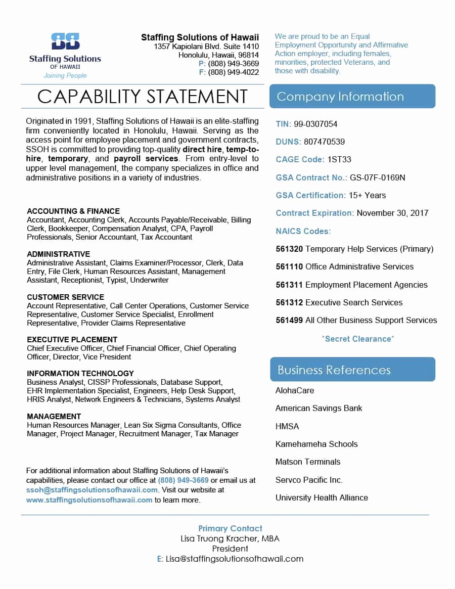 Capability Statement Template Doc Unique 39 Effective Capability Statement Templates Examples