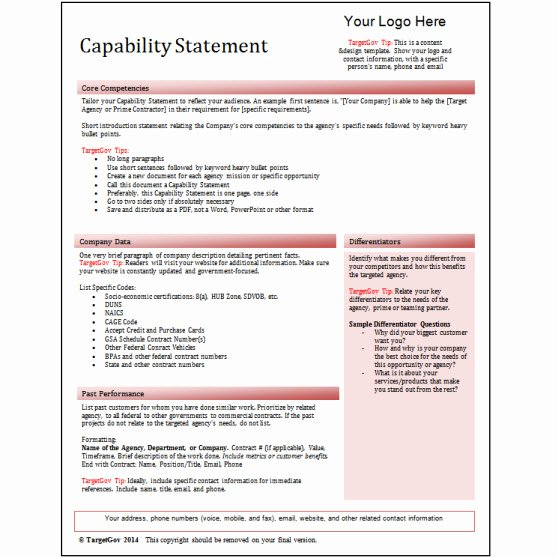 Capability Statement Template Free Beautiful Capability Statement Editable Template Red Tar Gov