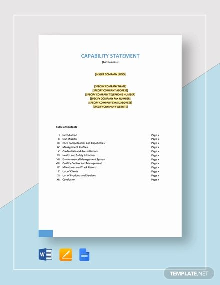 Capability Statement Template Free Best Of 12 Capability Statement Template Word Pdf Google Docs