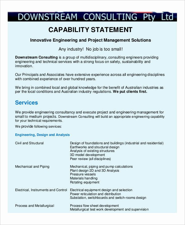 Capability Statement Template Free Elegant Free 13 Capability Statement Examples & Samples Doc