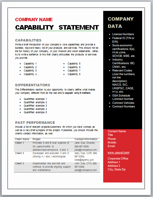 Capability Statement Template Free Lovely Get Started Quickly