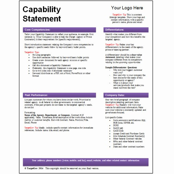 Capability Statement Template Free Lovely Tar Gov Capability Statement Editable Template Tar Gov