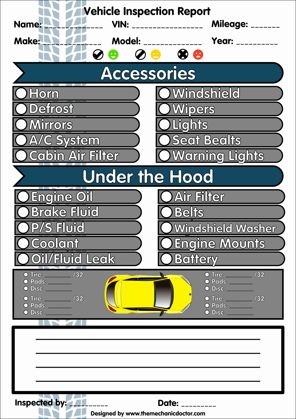 Car Inspection Checklist Template Awesome 6 Free Vehicle Inspection forms Modern Looking