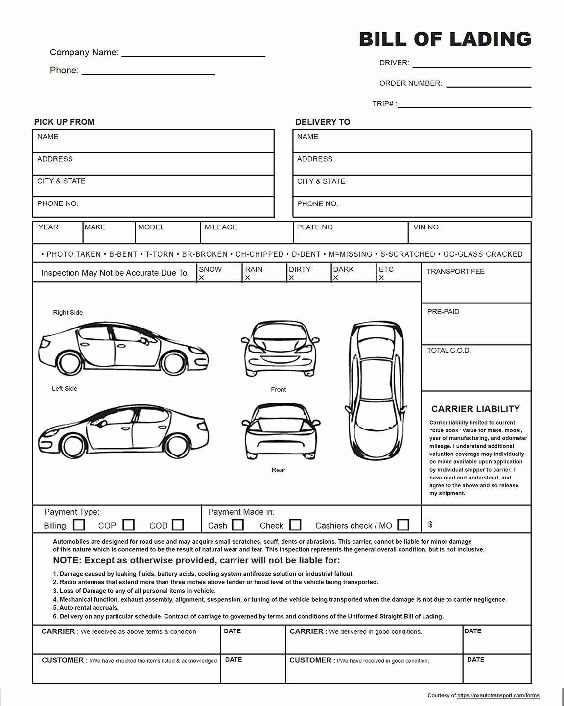 Car Inspection Checklist Template Beautiful the Auto Transport Bill Of Lading