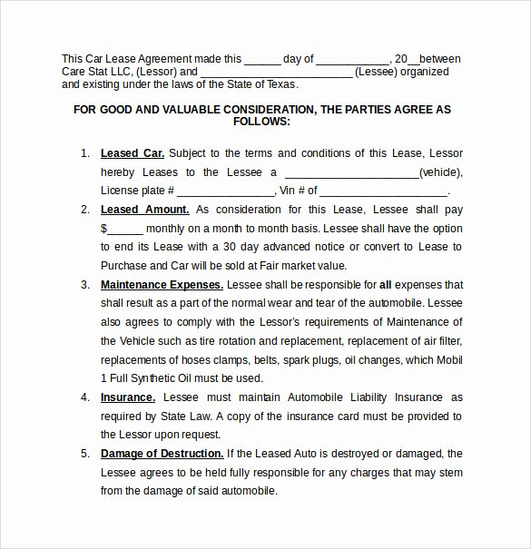 Car Lease Agreement Templates Best Of 8 Car Lease Agreement Templates – Samples Examples