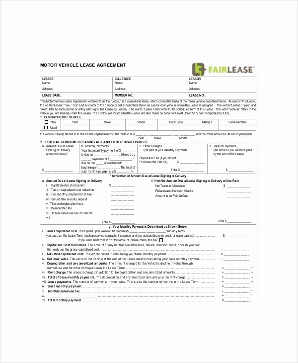Car Lease Agreement Templates Elegant Blank Lease Template 6 Free Word Pdf Documents