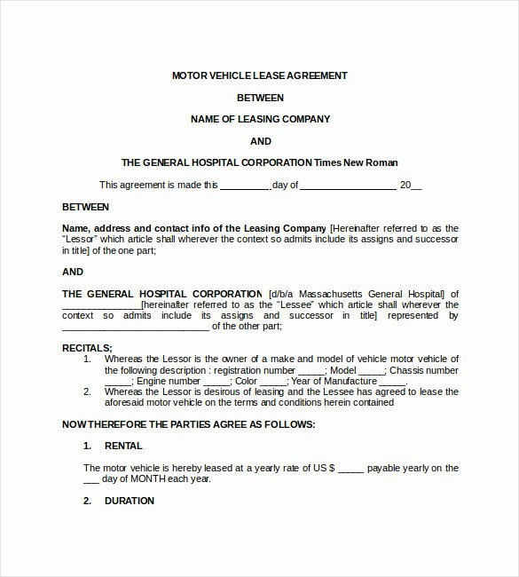 Car Lease Agreement Templates Inspirational 17 Lease Template Doc Pdf