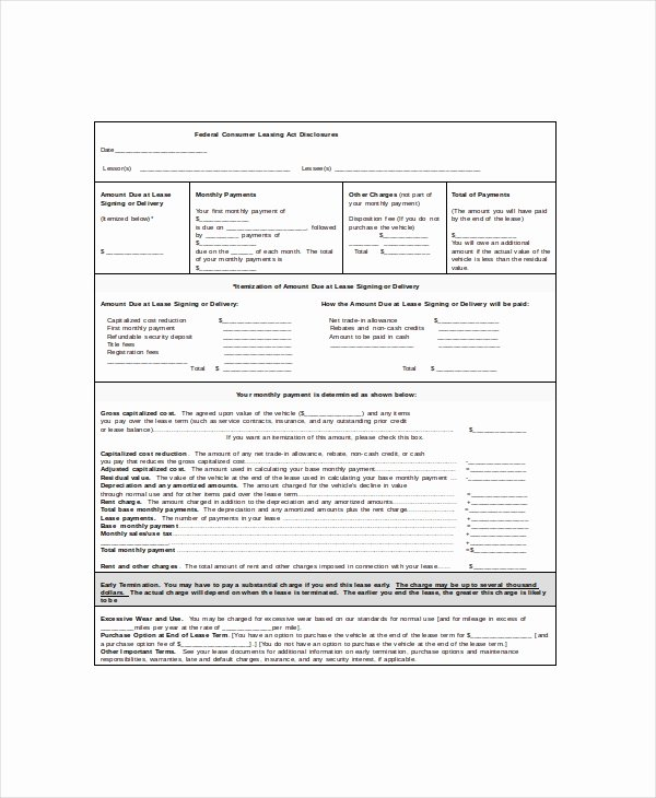 Car Lease Agreement Templates Inspirational 7 Vehicle Lease Templates Docs Word