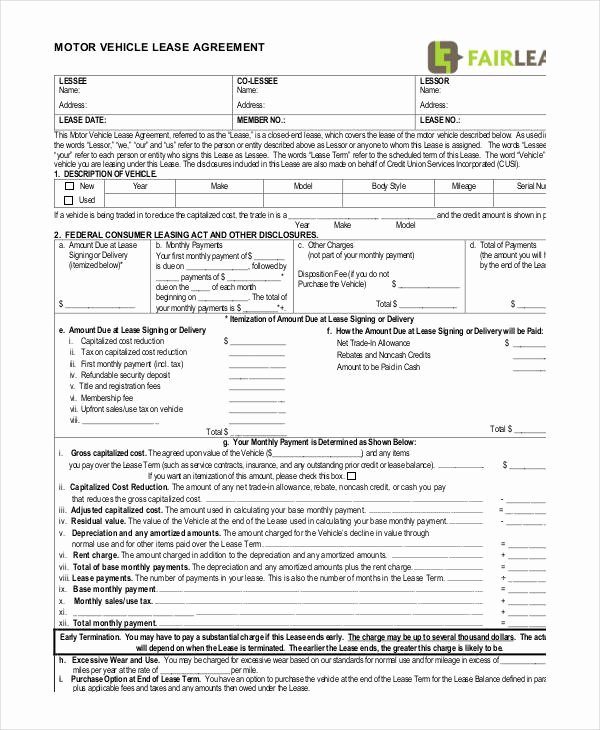 Car Lease Agreement Templates Lovely 14 Vehicle Lease Agreement Templates Docs Word