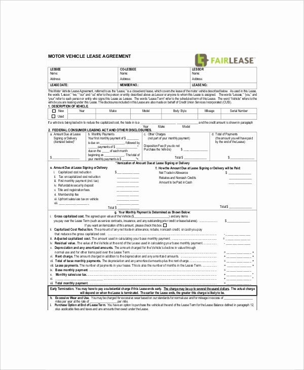 Car Lease Agreement Templates Lovely 7 Vehicle Lease Templates Docs Word