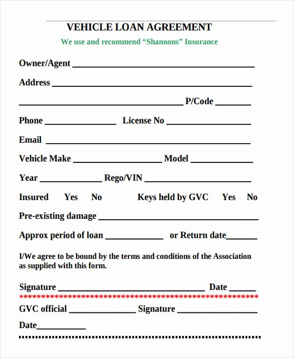 Car Loan Agreement Template Pdf Beautiful 27 Loan Agreement formats Word Pdf Pages