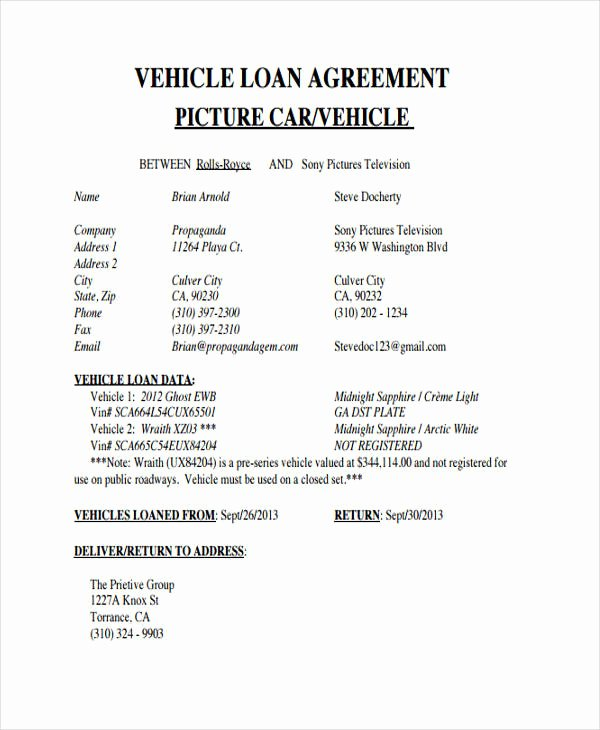 Car Loan Agreement Template Pdf Fresh Loan Agreement form Example 65 Free Documents In Word Pdf
