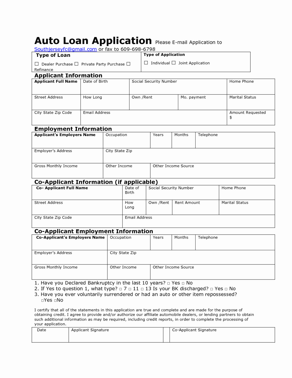 Car Loan Agreement Template Pdf Inspirational Auto Credit Application Template