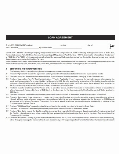 Car Loan Agreement Template Pdf Luxury 3 Car Loan Agreement Templates Google Docs Word Pages