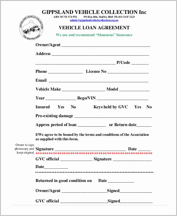 Car Loan Agreement Template Pdf Luxury Free 37 Free Loan Agreement forms