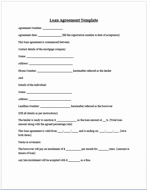Car Loan Agreement Template Pdf Unique Free Printable Personal Loan Agreement form Generic