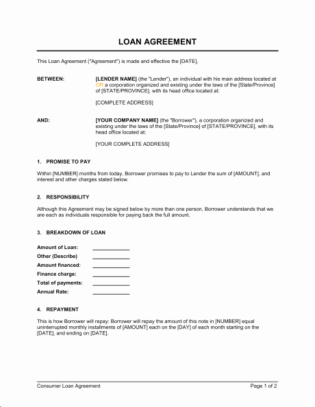 Car Loan Agreement Template Pdf Unique Personal Loan Repayment Agreement Free Printable Documents