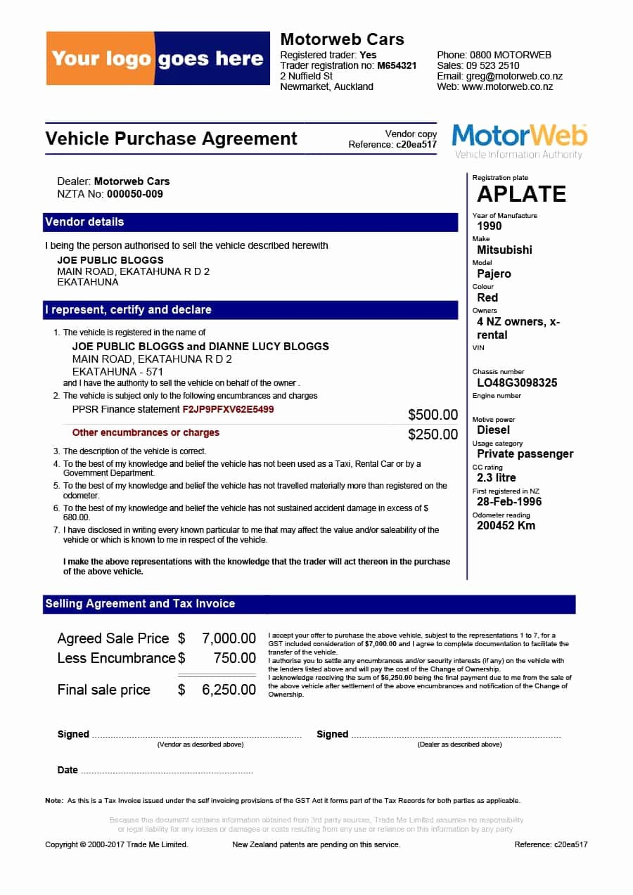 Car Purchase Agreement Template Awesome 42 Printable Vehicle Purchase Agreement Templates