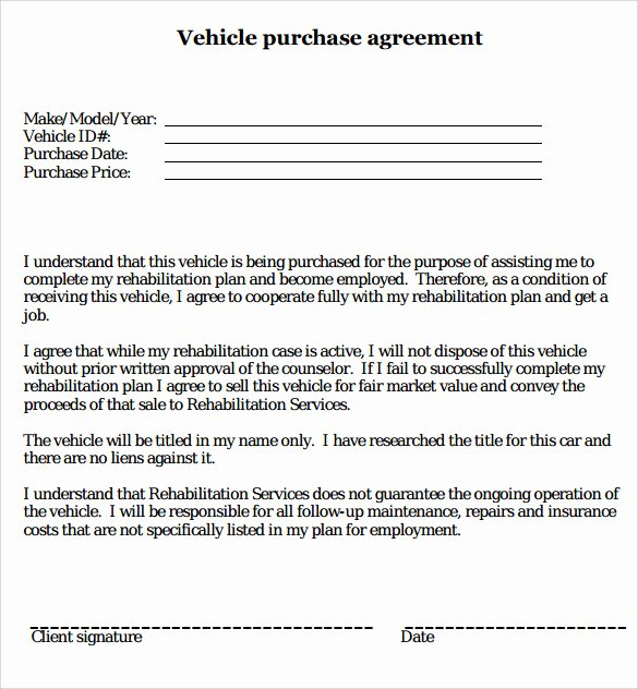 Car Purchase Agreement Template Beautiful Sample Vehicle Purchase Agreement 19 Documents In Pdf Word
