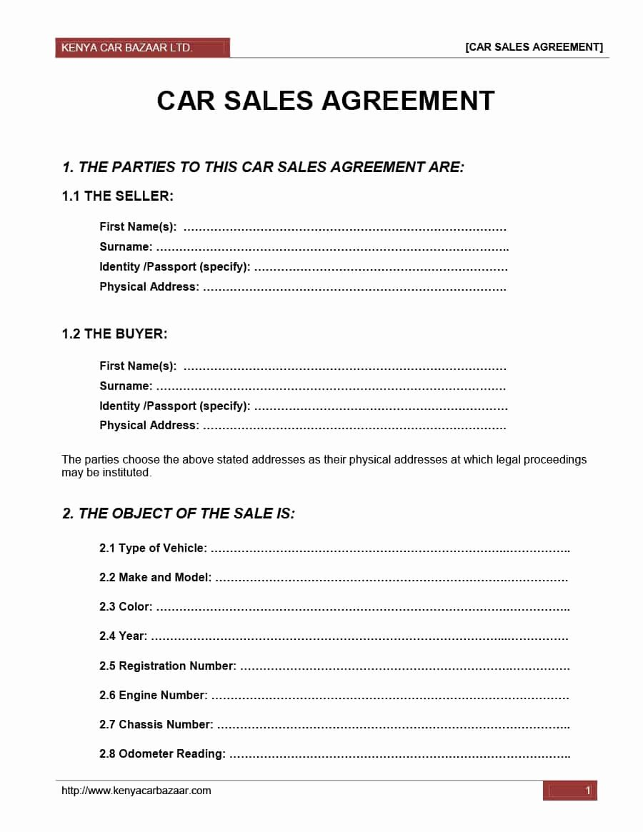 Car Purchase Agreement Template Fresh 42 Printable Vehicle Purchase Agreement Templates